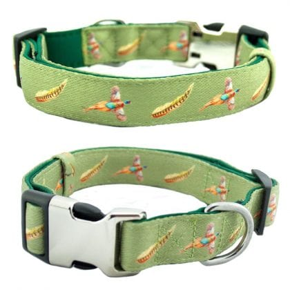 Pheasant Country Print Webbing and Soft Neoprene Dog Collar
