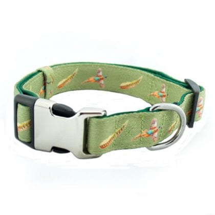 Pheasant Country Print Webbing and Soft Neoprene Dog Collar Buckle