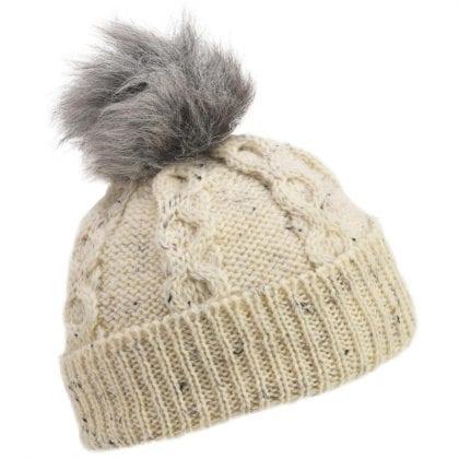Unisex Wool Aran Hat Bob Hat with Sheepskin Bobble