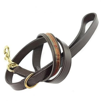 Luxury Brown Leather and Tweed Dog Lead