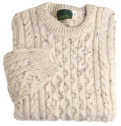 Unisex 100% Wool Roll Collar Aran Jumper - Folded