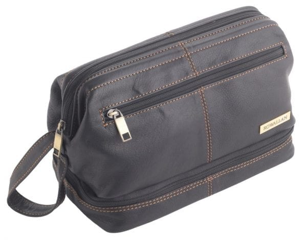 Rowallan Mens - Ladies Wide Opening Quality Leather Wash - Toiletry Bag in Black