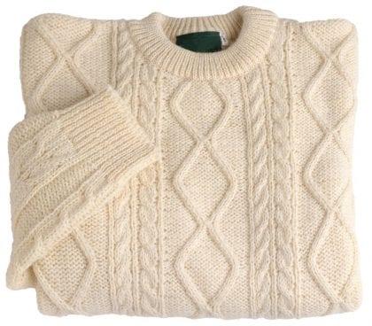 Unisex 100% Wool Aran Jumper - Folded