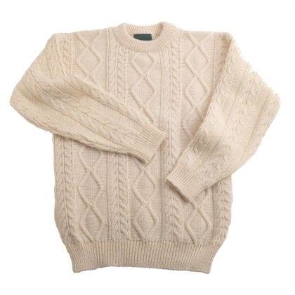 Unisex 100% Wool Aran Jumper