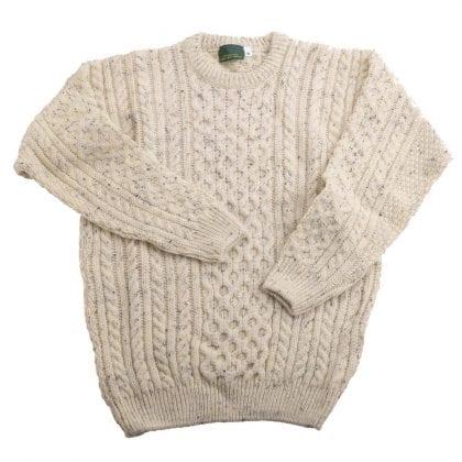 Unisex 100% Wool Roll Collar Aran Jumper