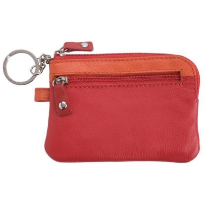 Genuine Super Soft Leather Zipped Coin Holder with Key Chain