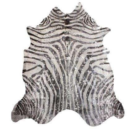 Super Size Zebra Print Genuine Metallic Cow Hide-0