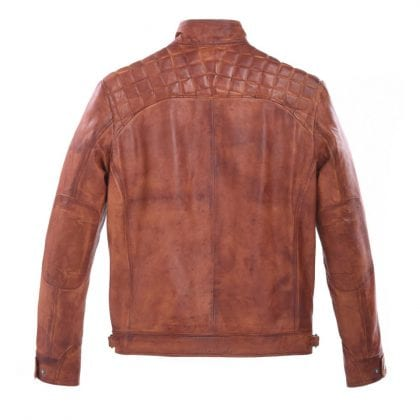 Mens Tan Leather Biker Jacket with Diamond Quilt - Back