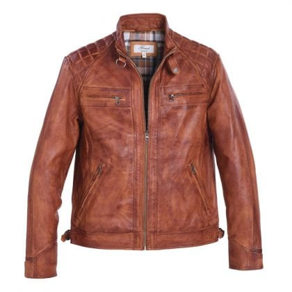 Mens Tan Leather Biker Jacket with Diamond Quilt
