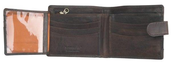 Mens Buffalo Rustic Leather Flip Out Wallet by Rowallan - Open Further