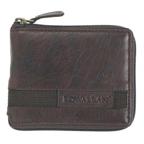 Mens Buffalo Rustic Leather Zip Round Wallet by Rowallan