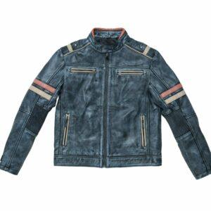 Mens Black Vintage Leather Biker Jacket