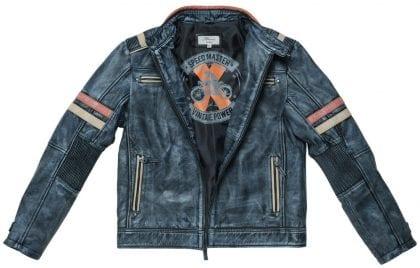 Mens Black Vintage Leather Biker Jacket - Open