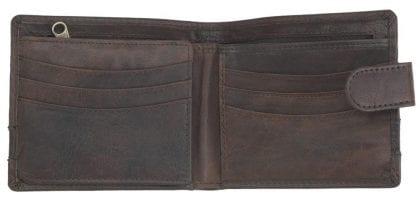 Mens Buffalo Rustic Leather Flip Out Wallet by Rowallan - Open