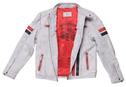 Mens White Leather Vintage Biker Jacket with Stripes - Open