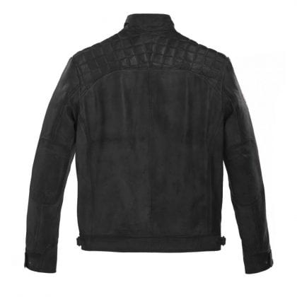 Mens Black Leather Biker Jacket with Diamond Quilt-142890