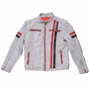 Mens White Leather Vintage Biker Jacket with Stripes