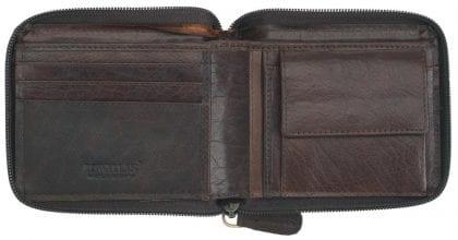 Mens Buffalo Rustic Leather Zip Round Wallet by Rowallan - Open