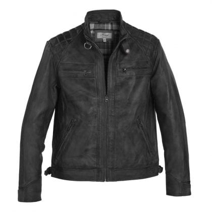 Mens Black Leather Biker Jacket with Diamond Quilt-0