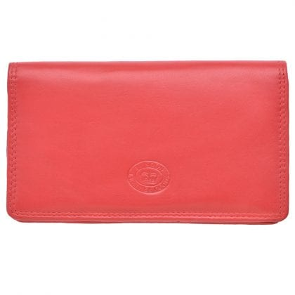 Ladies Large Genuine Leather Matinee Purse with Zipped Coin Sections