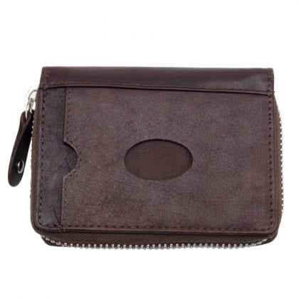 Quality Thick Leather Zipped Concertina RFID Blocking Card Holder