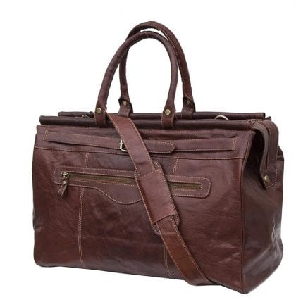 Luxury Genuine Leather Travel Bag Holdall - Strap