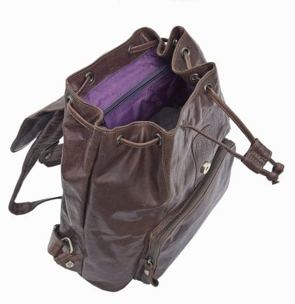 Unisex Rugged Genuine Leather Backpack - Open