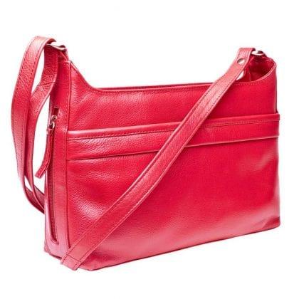 Ladies Luxury Leather Zip Top Cross Body Handbag