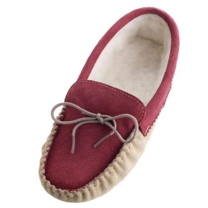 Ladies Wool Lined Two Tone Moccasin Slippers with Soft Sole-0