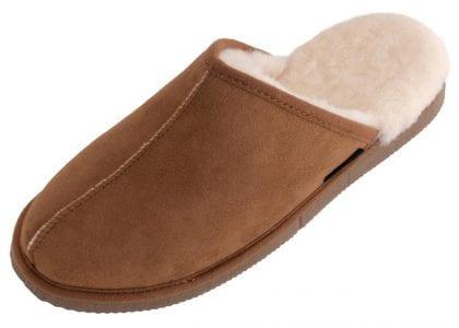 Mens Genuine Sheepskin Slip On Mule Slippers - Front