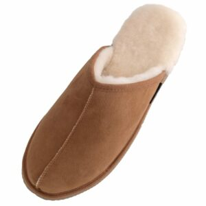 Mens Genuine Sheepskin Slip On Mule Slippers