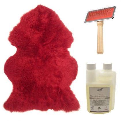 Genuine British Sheepskin Bright Red Starter / Gift Pack-0