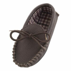 Childrens Genuine Leather Cotton Lined Moccasin Slippers-0
