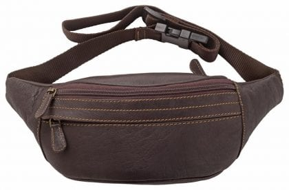 Soft Genuine Leather Multi Zip Waist Bag