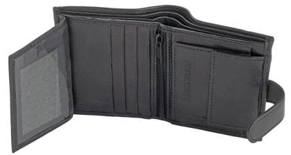 Mens Genuine Leather Compact Wallet - Open