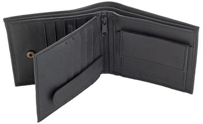Mens Genuine Leather Multi Card Wallet - Open