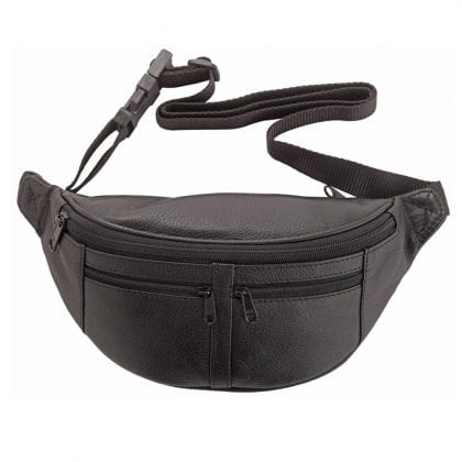 Genuine Quality Leather Multi Zip Waist Bag