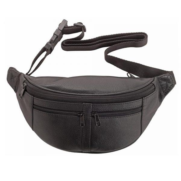 Genuine Quality Leather Multi Zip Waist Bag