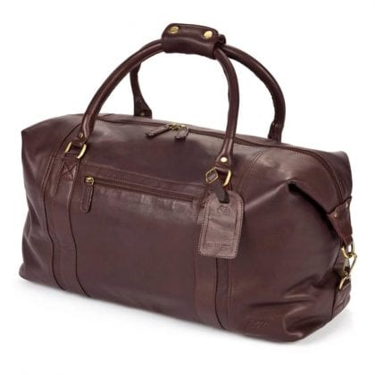 Large Dual Handle Genuine Leather Holdall