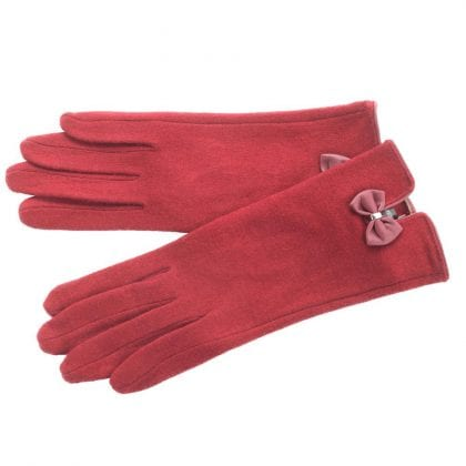 Ladies Wool Blend Gloves with Bow Detail-0