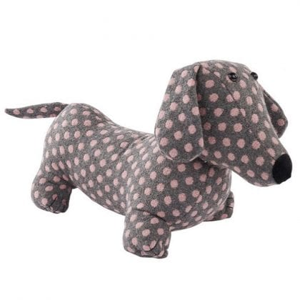 Bean Filled Polka Dot Sausage Dog Doorstop