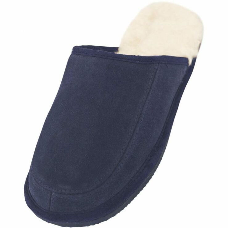Lambland Mens - Ladies Sheepskin Suede Mule Slipper with Full Wool Lining and Hard Sole in Navy Size UK3-0