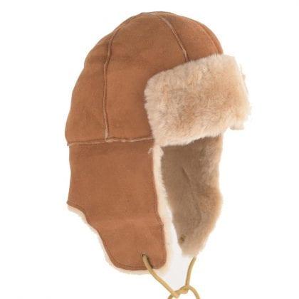 Ladies Sheepskin & Suede Trapper Hat