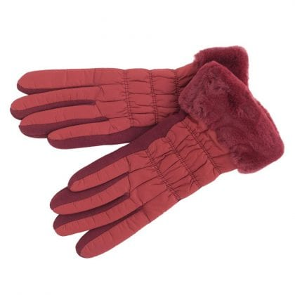 Ladies Warm & Soft Winter Gloves with Faux Fur Cuff