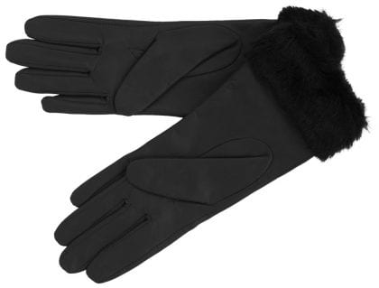 Ladies Premium Leather Gloves with Faux Fur Cuff