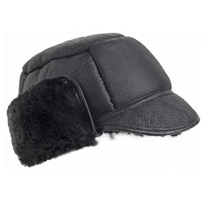 Mens Luxury Leather and Sheepskin Studded Trapper Hat