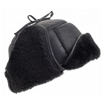 Mens Luxury Leather and Sheepskin Tie Back Trapper Hat