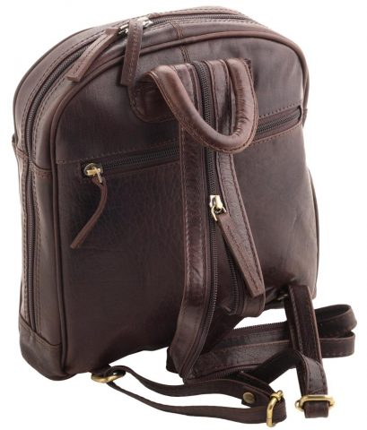 Ladies Round Top Leather Backpack by Rowallan - Rear