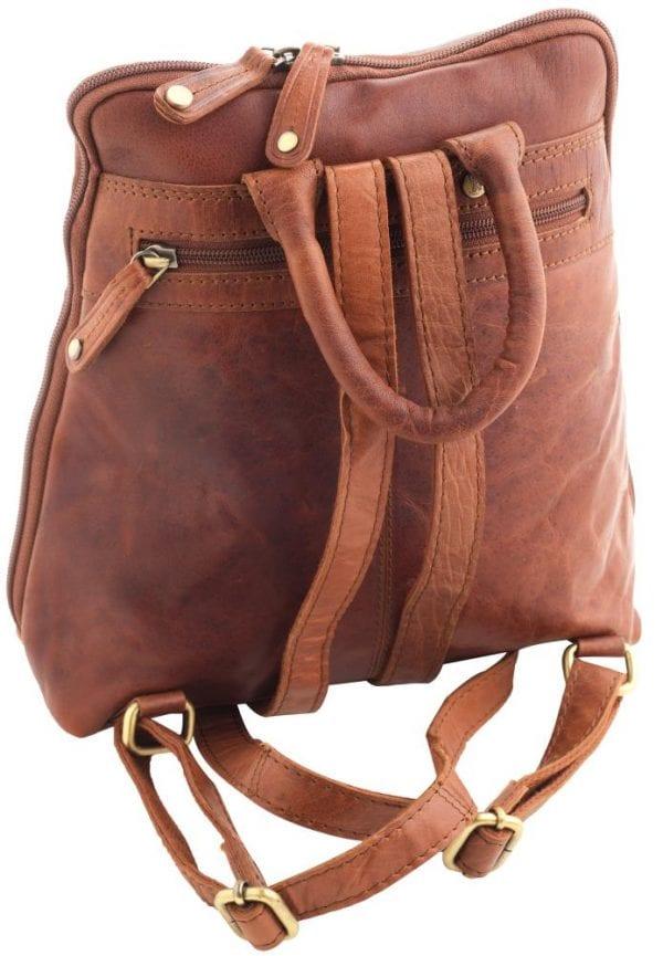 Ladies Wide Opening Luxury Leather Backpack by Rowallan - Back