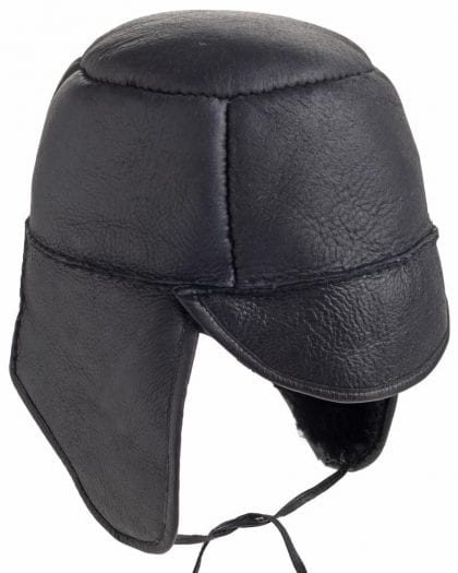 Mens Luxury Leather and Sheepskin Tie Back Trapper Hat - Open